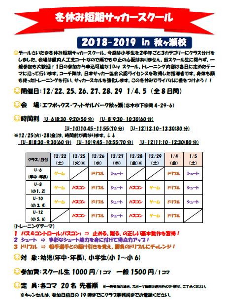20182019冬休み短期サッカースクール