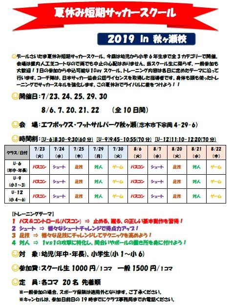 夏休み短期サッカースクールチラシ2019