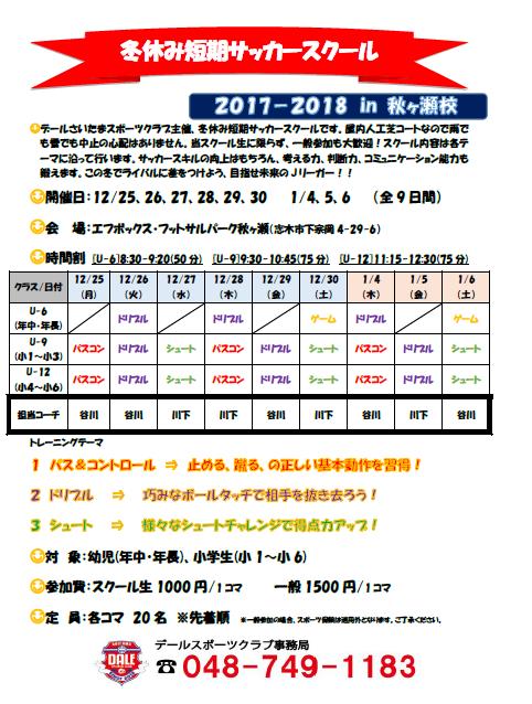 冬休み短期サッカースクールチラシ2017.18